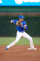 Kevin Vargas (1) of International Baseball Academy in La Mareas de Salinas, Puerto Rico attempts to turn a double play during the Under Armour All-American Game presented by Baseball Factory on July 29, 2017 at Wrigley Field in Chicago, Illinois.  (Mike Janes/Four Seam Images)