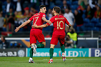 Goncalo Guedes of Portugal celebrates with Bernardo Silva of Portugal after scoring his side's first goal to make the score 1-0 during the UEFA Nations League Final match between Portugal and Netherlands at Estadio do Dragao on June 9th 2019 in Porto, Portugal. (Photo by Daniel Chesterton/phcimages.com)<br /> Finale <br /> Portogallo Olanda<br /> Photo PHC/Insidefoto <br /> ITALY ONLY