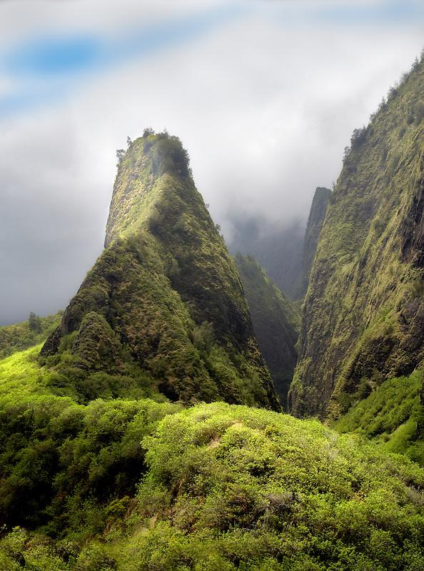 Iao Needle through the clouds. Iao State Park. Maui