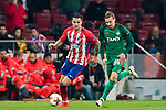Victor Machin, Vitolo (L), of Atletico de Madrid fights for the ball with Mikhail Lysov of FC Lokomotiv Moscow during the UEFA Europa League 2017-18 Round of 16 (1st leg) match between Atletico de Madrid and FC Lokomotiv Moscow at Wanda Metropolitano  on March 08 2018 in Madrid, Spain. Photo by Diego Souto / Power Sport Images