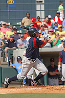 Shortstop Kris Negron of the Salem Red Sox hitting during a game against  the Myrtle Beach Pelicans on May 3, 2009