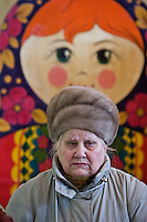 Beloozersky, Russia, 11/03/2007..A woman waits to vote in regional government elections, which are being held in 14 of Russia's 86 regions.