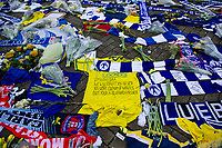 Pictured:  Tributes for Emiliano Sala outside the Cardiff City Stadium in Cardiff, South Wales, UK. Tuesday 05 February 2019<br /> Re: Attempts are being made to move a large part of the plane wreck that was carrying Cardiff City footballer Emiliano Sala and pilot David Ibbotson.<br /> A body was seen in the Piper Malibu N264DB on Monday, two weeks after it vanished over the English Channel.