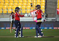 England's Tammy Beaumont and Heather Knight during the 2nd international women's T20 cricket match between the New Zealand White Ferns and England at Sky Stadium in Wellington, New Zealand on Friday, 5 March 2021. Photo: Dave Lintott / lintottphoto.co.nz