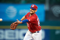 Buffalo Bisons first baseman Casey Kotchman (55) flips the ball to first during a game against the Louisville Bats on June 20, 2016 at Coca-Cola Field in Buffalo, New York.  Louisville defeated Buffalo 4-1.  (Mike Janes/Four Seam Images)