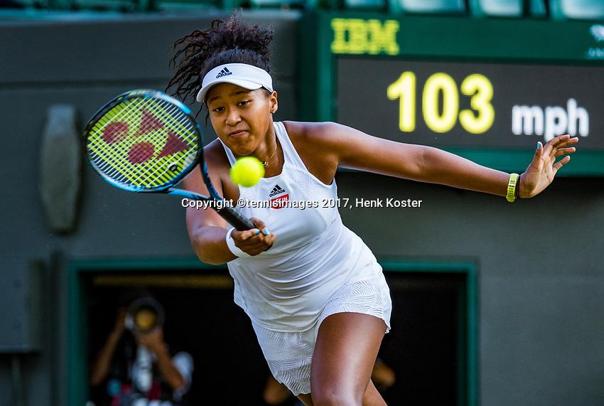 London, England, 7 th July, 2017, Tennis,  Wimbledon, Naomi Osaka (USA)<br /> Photo: Henk Koster/tennisimages.com