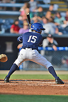 Asheville Tourists left fielder Raimel Tapia #15 awaits a pitch during a game against the Kannapolis Intimidators at McCormick Field on June 7, 2014 in Asheville, North Carolina. The Tourists defeated the Intimidators 7-5. (Tony Farlow/Four Seam Images)