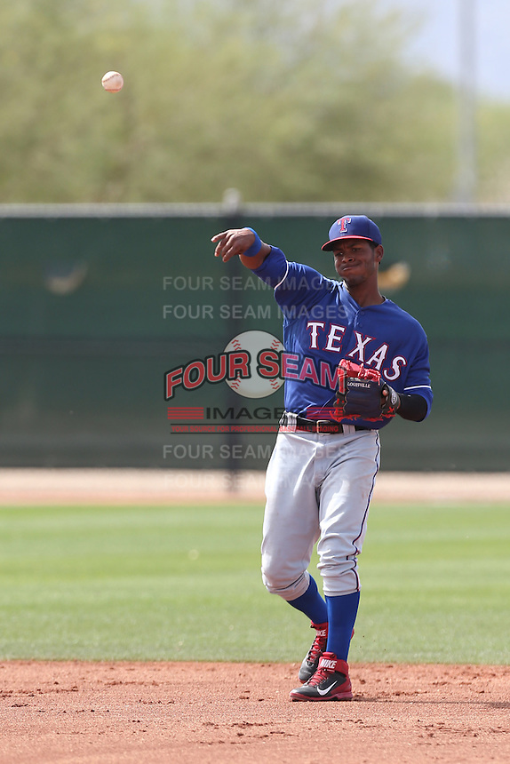 Albert Triunfel #81 of the Texas Rangers during a Minor League Spring Training Game against the Kansas City Royals at the Kansas City Royals Spring Training Complex on March 20, 2014 in Surprise, Arizona. (Larry Goren/Four Seam Images)