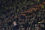 Norwich City 1 Manchester United 0, 17/11/2012. Carrow Road, Premier League. Home manager Chris Hughton watching the first-half action at Carrow Road stadium, home of Norwich City as their team take on Manchester United in a Barclays Premier League fixture. The home team won the match by one goal to nil watched by a crowd of 26,840. It was Norwich City's first victory against Manchester United since 2005. Photo by Colin McPherson.