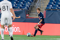 FOXBOROUGH, MA - JULY 23: Sean O'Hearn #40 of New England Revolution II brings the ball forward during a game between Toronto FC II and New England Revolution II at Gillette Stadium on July 23, 2021 in Foxborough, Massachusetts.