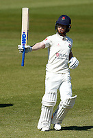 15th April 2021; Emirates Old Trafford, Manchester, Lancashire, England; English County Cricket, Lancashire versus Northants;   Lancashire's Alex Davies celebrates a fifty in the morning session