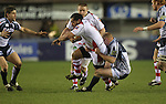 17 February 2012; Martyn Williams slows down John Afoa,  Celtic League, Cardiff Blues v Ulster, Cardiff Arms Park, Cardiff, Wales..Picture credit: Steve Pope / SPORTINGWALES