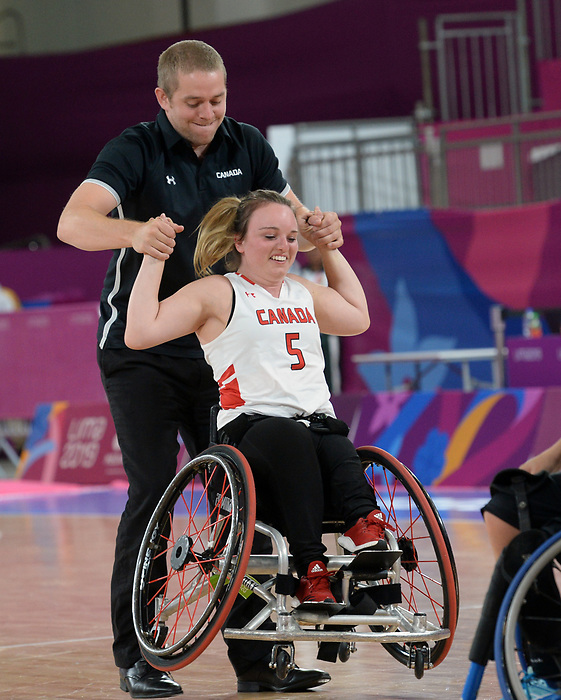 Élodie Tessier, Lima 2019 - Wheelchair Basketball // Basketball en fauteuil roulant.<br /> Women's wheelchair basketball competes against Argentina // Le basketball en fauteuil roulant féminin contre Argentine. 25/08/2019.