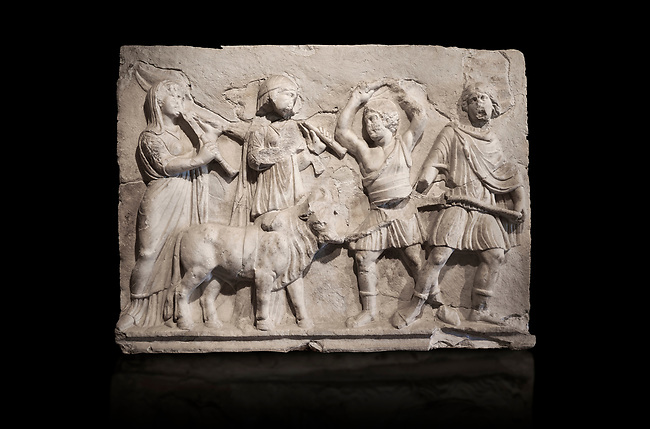 Roman relief sculpture of the Coronation of Hierapolis. Roman 2nd century AD, Hierapolis Theatre.. Hierapolis Archaeology Museum, Turkey . Against an black background