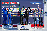 13th February 2021; Idre Fjall, Sweden;  Gold medalists Belle Brockhoff and Jarryd Hughes of Team Australia 1 C pose with silver medalists Michela Moioli and Lorenzo Sommariva of Team Italia 1 L and bronze medalists Julia Pereira de Sousa Mabileau and Leo le Ble Jacques of Team France 2 during the awarding ceremony after the FIS Snowboard Cross mixed team World Championships final in Idre Fjall, Sweden