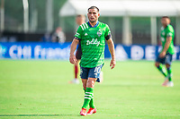 LAKE BUENA VISTA, FL - JULY 14: Nicolas Lodeiro #10 of the Seattle Sounders waiting on the ball during a game between Seattle Sounders FC and Chicago Fire at Wide World of Sports on July 14, 2020 in Lake Buena Vista, Florida.