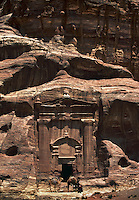 The Renaissance Tomb a rock cut temple with camels Petra JORDAN.