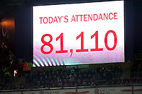 Almost a sellout crowd watch the QBE International between England and Fiji at Twickenham on Saturday 10th November 2012 (Photo by Rob Munro)
