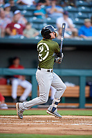 Biloxi Shuckers shortstop Jake Hager (2) follows through on a swing during a game against the Jacksonville Jumbo Shrimp on June 8, 2018 at Baseball Grounds of Jacksonville in Jacksonville, Florida.  Biloxi defeated Jacksonville 5-3.  (Mike Janes/Four Seam Images)