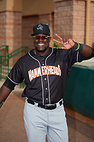 Jupiter Hammerheads Lazaro Alonso (44) before a Florida State League game against the Florida Fire Frogs on April 8, 2019 at Osceola County Stadium in Kissimmee, Florida.  Florida defeated Jupiter 7-6 in ten innings.  (Mike Janes/Four Seam Images)