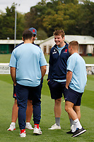 Miles Wakeling of London Scottish with team mates during the Championship Cup match between London Scottish Football Club and Nottingham Rugby at Richmond Athletic Ground, Richmond, United Kingdom on 28 September 2019. Photo by Carlton Myrie / PRiME Media Images