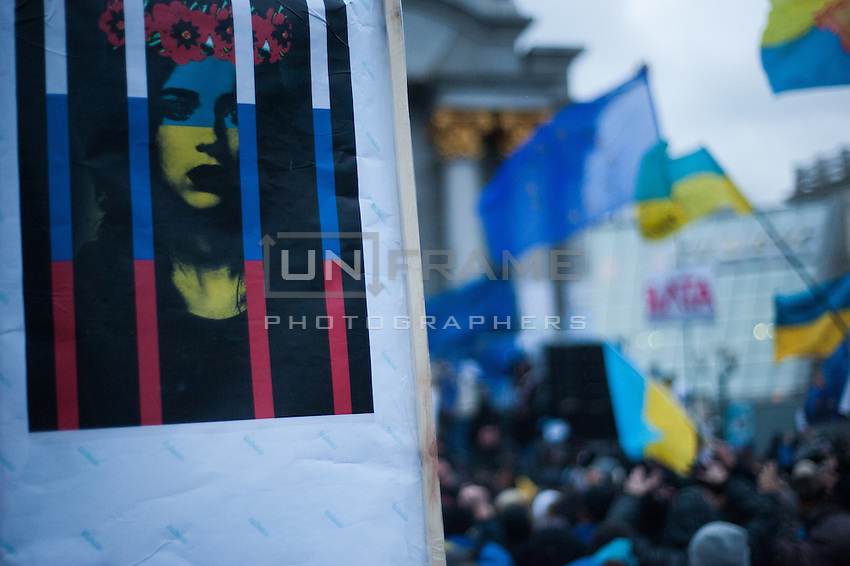 """""""Ukraine in Russain Jail"""" People gather in the independece square in Kiev. Ukriane in the night of EU summit in Vilnus. Thousands of people are continuing to express their support to european integration and protesting against decision of Ukrainian government to refuse signing of association with EU in Vilnius."""