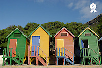 Multicoloured beach huts, low angle view (Licence this image exclusively with Getty: http://www.gettyimages.com/detail/73014012 )