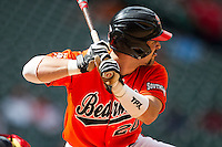 Sam Houston State Bearkats catcher Anthony Azar #20 at bat during the NCAA baseball game against the Texas Tech Red Raiders on March 1, 2014 during the Houston College Classic at Minute Maid Park in Houston, Texas. The Bearkats defeated the Red Raiders 10-6. (Andrew Woolley/Four Seam Images)