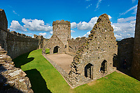 Interior ruins of the medieval Norman Kidwelly Castle, Kidwelly, Carmarthenshire, Wales.