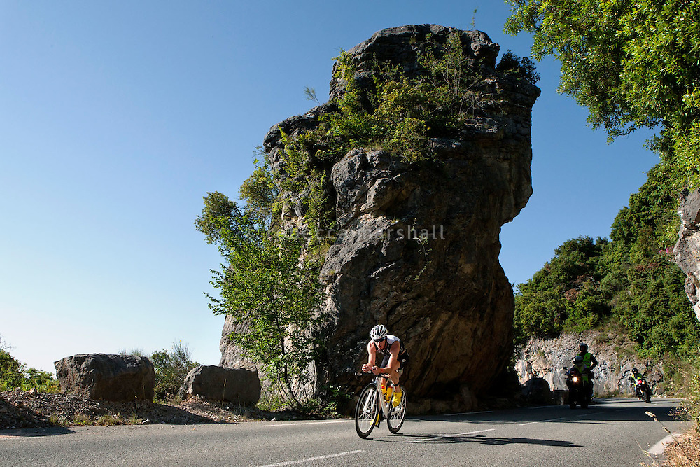 Anthony Pannier on the bike course of Ironman France 2012, Nice, France, 24 June 2012