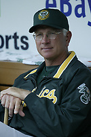Oakland Athletics Manager Ken Macha during a 2003 season MLB game at Angel Stadium in Anaheim, California. (Larry Goren/Four Seam Images)