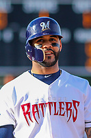 Milwaukee Brewers second baseman Jonathan Villar (3) during a rehab appearance with the Wisconsin Timber Rattlers in game one of a Midwest League doubleheader against the Kane County Cougars on June 23, 2017 at Fox Cities Stadium in Appleton, Wisconsin.  Kane County defeated Wisconsin 4-3. (Brad Krause/Four Seam Images)