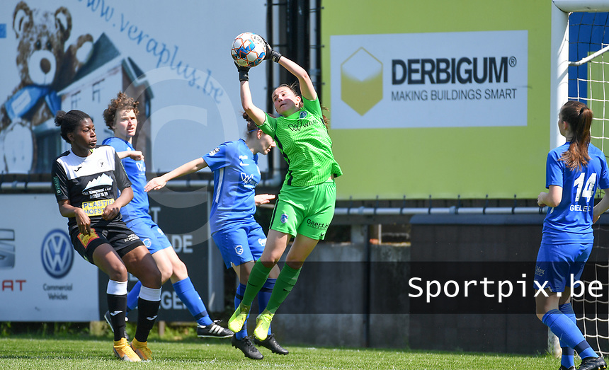 goalkeeper Josephine Delvaux (1) of KRC Genk pictured in action during a female soccer game between Eendracht Aalst and Racing Genk on the 10 th and last matchday of play off 2 of the 2020 - 2021 season of Belgian Scooore Womens Super League , Saturday 29 st of May 2021  in Aalst , Belgium . PHOTO SPORTPIX.BE   SPP   DAVID CATRY