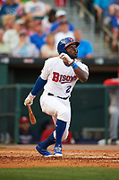 Buffalo Bisons right fielder Dwight Smith Jr. (2) flies out in the sixth inning during a game against the Syracuse Chiefs on July 3, 2017 at Coca-Cola Field in Buffalo, New York.  Buffalo defeated Syracuse 6-2.  (Mike Janes/Four Seam Images)