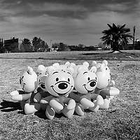 A group of Happy Dolls plastic inflatable toys, Ellis Park, New Doorfontein.
