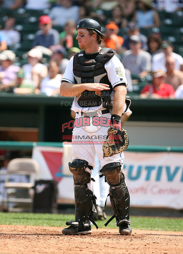 2007:  Erik Kratz of the New Hampshire Fisher Cats, Class-AA affiliate of the Toronto Blue Jays, during the Eastern League baseball season.  Photo by Mike Janes/Four Seam Images