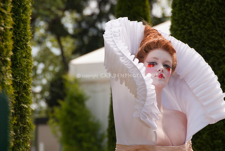 Elaborate Elizabethan collar worn by model