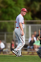 Ball State Cardinals head coach Rich Maloney (2) argues a call during a game against the Dartmouth Big Green on March 7, 2015 at North Charlotte Regional Park in Port Charlotte, Florida.  Ball State defeated Dartmouth 7-4.  (Mike Janes/Four Seam Images)