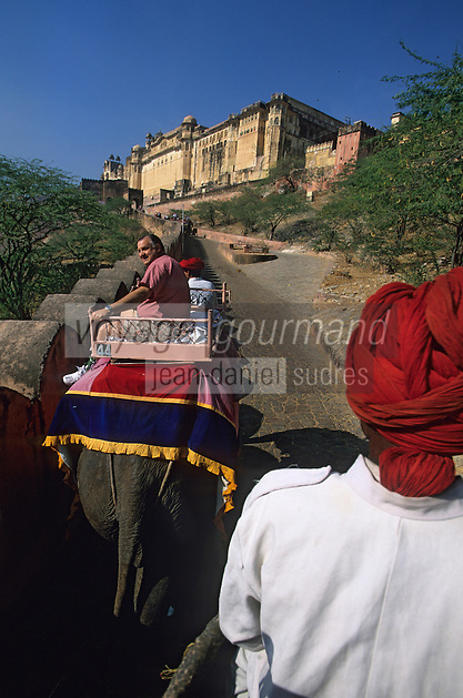 Asie/Inde/Rajasthan/Env de Jaipur/Amber : Les éléphants dans la montée vers le Palais 16 & 17