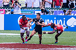 Bailey Simonsson of New Zealand (C) runs with the ball during the HSBC Hong Kong Sevens 2018 Semi-Finals match between Kenya and New Zealand on April 8, 2018 in Hong Kong, Hong Kong. Photo by Marcio Rodrigo Machado / Power Sport Images