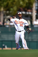 Baltimore Orioles infielder Jimmy Paredes (38) during a Spring Training game against the Detroit Tigers on March 4, 2015 at Ed Smith Stadium in Sarasota, Florida.  Detroit defeated Baltimore 5-4.  (Mike Janes/Four Seam Images)