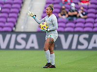 ORLANDO, FL - FEBRUARY 21: Barbara #1 of Brazil yells to her teammates during a game between Brazil and USWNT at Exploria Stadium on February 21, 2021 in Orlando, Florida.