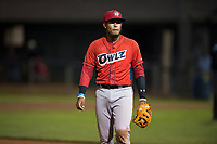 Orem Owlz third baseman Kevin Maitan (9) during a Pioneer League game against the Helena Brewers at Kindrick Legion Field on August 21, 2018 in Helena, Montana. The Orem Owlz defeated the Helena Brewers by a score of 6-0. (Zachary Lucy/Four Seam Images)