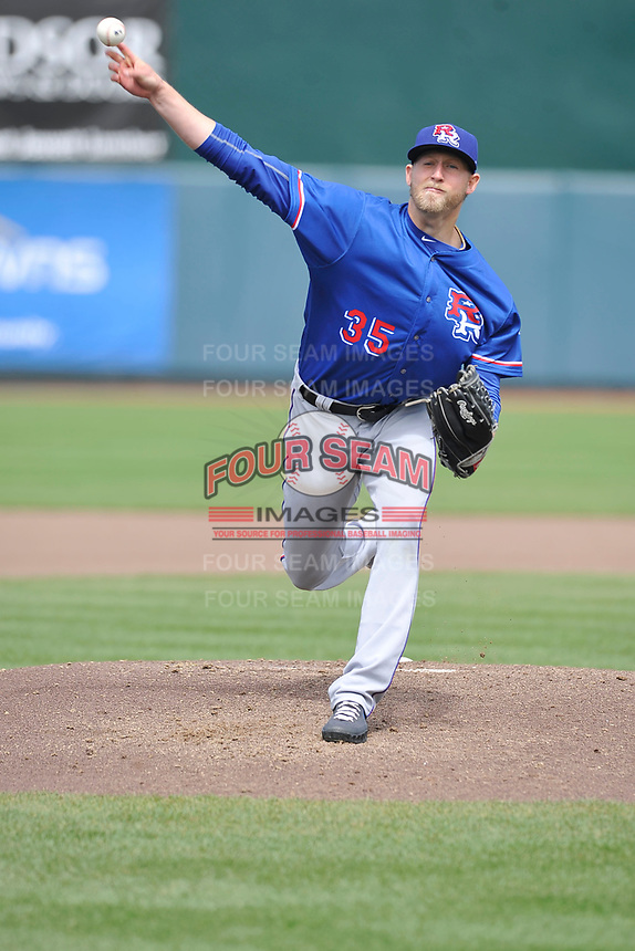Round Rock Express starting pitcher Tyler Wagner (35) throws during a game against the Iowa Cubs at Principal Park on April 16, 2017 in Des  Moines, Iowa.  The Cubs won 6-3.  (Dennis Hubbard/Four Seam Images)