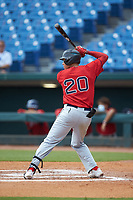 Joshua Baez (20) of Dexter Southfield HS in Boston, MA playing for the Boston Red Sox scout team during the East Coast Pro Showcase at the Hoover Met Complex on August 3, 2020 in Hoover, AL. (Brian Westerholt/Four Seam Images)