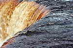 The Upper Tahquamenon Falls in Upper Michigan.  Brown water tanic