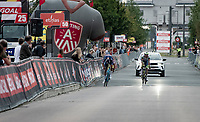 Mathieu van der Poel (NED/Alpecin-Fenix) beats Taco van der Hoorn (NED/Intermarché - Wanty - Gobert Matériaux) in a sprint for the finish and wins the race he entered 'to test his back' and check if he could be ready for the World Championships 2 weeks later and Roubaix the week after that<br /> <br /> Antwerp Port Epic / Sels Trophy 2021 (BEL)<br /> One day race from Antwerp to Antwerp (183km)<br /> <br /> The APC stands qualified as a 'road race', but with 36km of gravel and 28km of cobbled sections in and around the Port of Antwerp (BEL) this race occupies a unique spot in the Belgian race scene.<br /> <br /> ©kramon