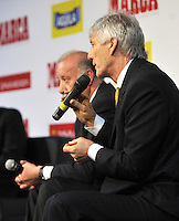 BOGOTA - COLOMBIA - 07 - 05 - 2013:  Jose Pekerman (Der.), director técnico de la Selección Colombiana de Futbol y Vicente del Bosque (Izq.),  director técnico de la Selección Española de Futbol durante Foro en Bogota, mayo 7 de 2013.  El diario Marca Colombia, en su lanzamiento realizo el I FORO COLOMBIA Y ESPAÑA, RUMBO AL MUNDIAL BRASIL2014, (Foto. VizzorImage / Luis Ramirez / Staff). Jose Pekerman (R), head coach of the Colombian Footbal and Vicente del Bosque (L), head coach of the Spanish Football during Forum in Bogota, May 7, 2013. The newspaper Marca Colombia, at launch I performed the FORUM COLOMBIA AND SPAIN, WAY TO WORLD BRASIL 2014, (Photo. VizzorImage / Luis Ramirez / Staff). (Photo. VizzorImage / Luis Ramirez / Staff).