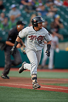 Tri-City ValleyCats Juan Paulino (16) runs to first base during a NY-Penn League game against the Brooklyn Cyclones on August 17, 2019 at MCU Park in Brooklyn, New York.  Brooklyn defeated Tri-City 2-1.  (Mike Janes/Four Seam Images)