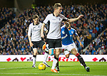 Rangers v St Johnstone...22.09.15  Scottish League Cup Round 3, Ibrox Stadium<br /> Steven MacLean flicks the ball into the path of Murray Davidson who scores to make it 1-0<br /> Picture by Graeme Hart.<br /> Copyright Perthshire Picture Agency<br /> Tel: 01738 623350  Mobile: 07990 594431